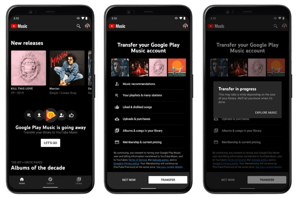 Google Play Music trasferimento musica YouTube Music